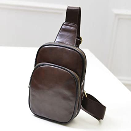 Men/'s Leather Bag Chest Shoulder Cross Body Cycle Satchel Travel Water Resistant
