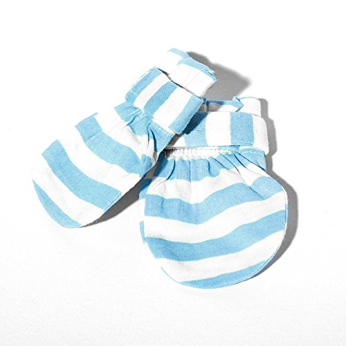 Baby Mittens (Blue) - 100% Cotton Baby Mittens No Scratch - Stop all unwanted scratches-Unique strap that keeps mittens in place and your precious baby safe GUARANTEED! Best Baby Gift!