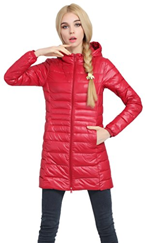 (Sawadikaa Women's Lightweight Hooded Long Down Outerwear Puffer Jacket Coat Windbreaker Outdoor Quilted Down Parka Jacket Red Medium)