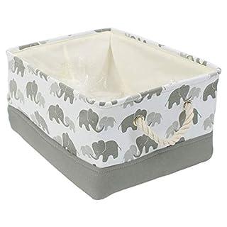 BEYONDY Storage Bins,Fabric Storage Baskets Towel Storage Bin Laundry Toy Basket w Drawstring Closure,Gray Elephant