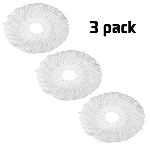 Hot Sale Replacement Round Mop Head Microfiber Mop Heads Refill Hurricane For Standard Universal 360  Spin Magic Mop Durable Anti Abrasive Spin Mop Head Super Value 3 Pack