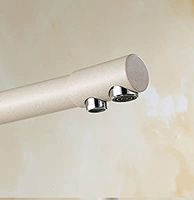 Solid Brass Beige White Kitchen Faucet