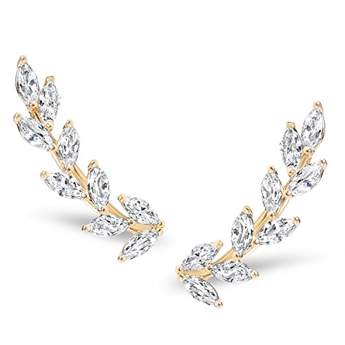 Humble Chic Crystal Leaf Ear Climbers - Simulated Diamond Flower Crawler Cuff Stud Earrings, Gold-Tone Petals
