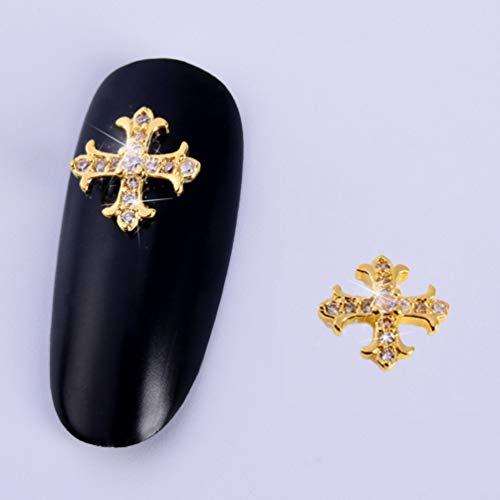 (15 Pcs Rivet Nail 3D Nail Art Charms Accessories Gold Metal Punk Star Moon Heart Triangle Square Rivet Gems Nail Art Jewels Decal for Girls Fingernails & Toenails Decorations Tips)