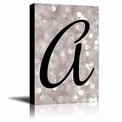 The Letter A in Brush Stroke Cursive on a Champagne Colored Bokeh Background Romantic Elegant Decor