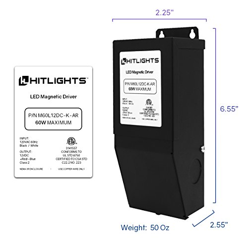 HitLights 60 Watt Dimmable Driver, Magnetic, for LED Light Strips - 110V AC-12V DC Transformer. Made in the USA. Compatible with Lutron and Leviton by HitLights (Image #1)