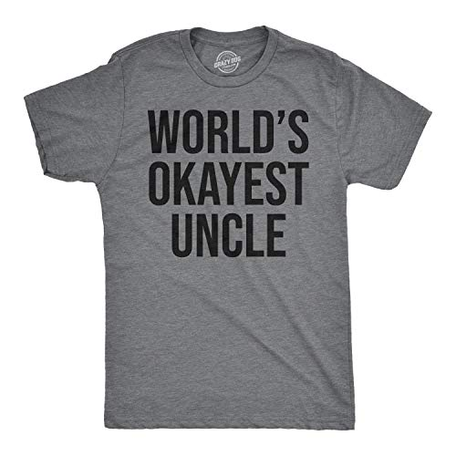 - Worlds Okayest Uncle T Shirt Awesome Funny Family Reunion Text Saying Tee (Heather Grey) - L