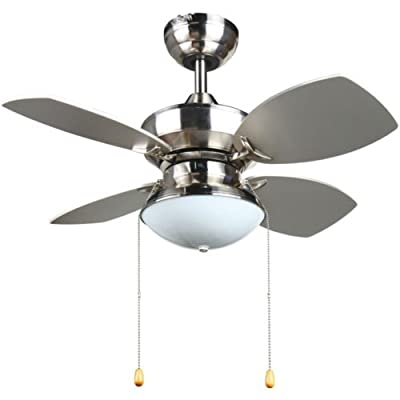 4 Blades 28-inch Ceiling Fan in Brushed Nickel for Lighting and Cooling Kitchen or Living Room This Fixture Provides Elegant Style to Your Room