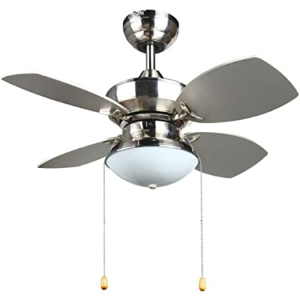 4 Blades 28 Inch Ceiling Fan In Brushed Nickel For Lighting And Cooling Kitchen Or