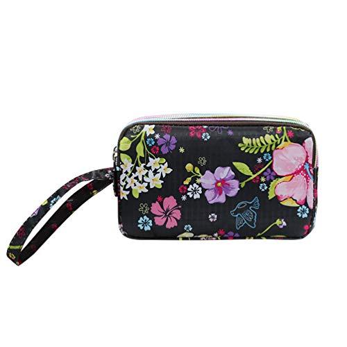 Women Wristlet Bag Canvas Cloth Coin Purse Zipper Floral Print Phone Pouch SoundsBeauty