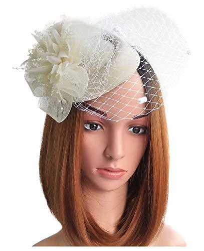 Fascinator Hats Pillbox Hat British Bowler Hat Flower Veil Wedding Hat Tea Party Hat (Beige) ()