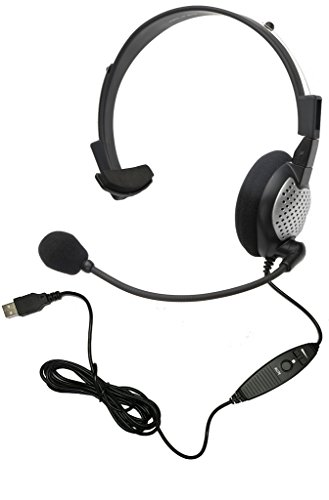 (Andrea Communications NC-181VM USB On-Ear Monaural Computer Headset, Noise-Canceling Microphone, In-Line Volume/Mute Controls, and Built-In External Sound Card with USB Plug)