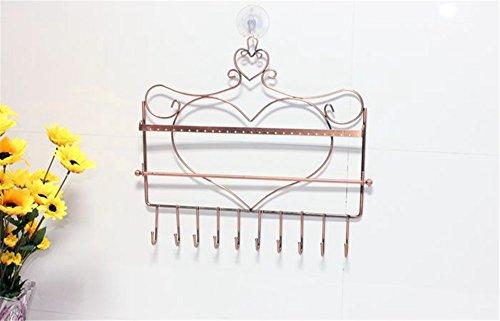 lepod Wandhalterung Herz Form Schmuck Organizer zum aufhängen Ohrring Halter Halskette Schmuck Display Ständer Rack bronze -