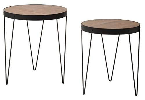OSP Designs Pasadena Nesting Accent Tables Set with Rustic calico wood top and Matte Black metal frame - 2-Pack by OSP Designs