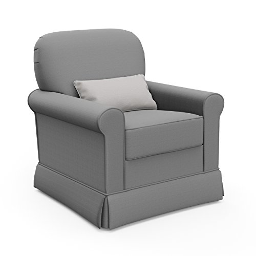 (Storkcraft Avalon Upholstered Swivel Glider, Midnight Gray, Cleanable Upholstered Comfort Rocking Nursery Swivel Chair )