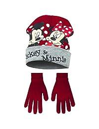 Disney Minnie Mouse Childrens Girls Mickey & Minnie Winter Hat Gloves Set