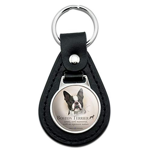 Boston Terrier Dog Breed Black Leather Keychain