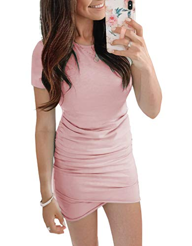 - BTFBM Women's 2019 Casual Crew Neck Ruched Stretchy Bodycon T Shirt Short Mini Dress (104Pink, Small)