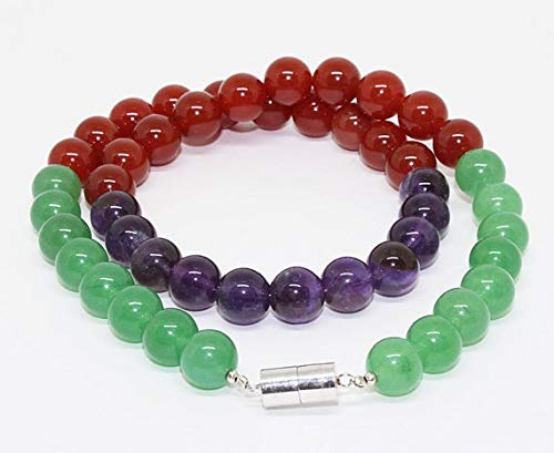 Mix Semi Precious Stone - GemAbyss Beads Gemstone Natural Stone Bead Necklace - Mix Semi Precious Stone Single Line 18 Inch Long inch/Green Onyx,Amethyst, Carnelian Beads Necklace Ready to wear Size- 10mm Code-MVG-25329