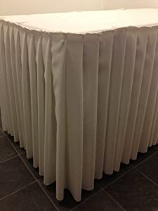 Amazon ivory pleated top table skirt buffet table skirt ivory pleated top table skirt buffet table skirt polyester fabric machine washable 18 ft by hope textiles watchthetrailerfo