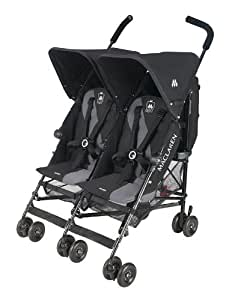 Maclaren Twin Triumph Stroller, Black/Charcoal (Discontinued by Manufacturer)