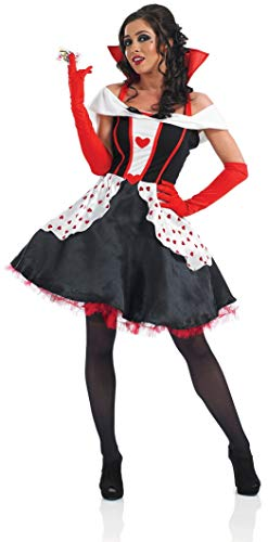 Ladies Longer Length Queen of Hearts Alice in Wonderland Book Day Halloween Fancy Dress Costume Outfit 8-30 Plus Size (UK 28-30) Black