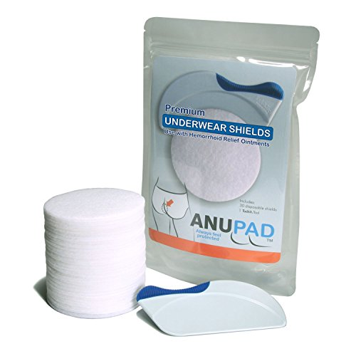 ANUPAD - Stop The Mess Hemorrhoid Creams Make, Shields and Protects Your Underwear, Use with Preparation H, Includes Premium Shields Plus Tuck-it Tool (30 Pack)