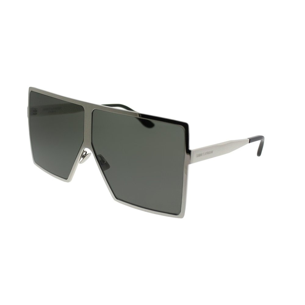 907f22b0a9 Amazon.com  Saint Laurent Betty SL 182 006 Silver Metal Square Sunglasses  Grey Lens  Clothing