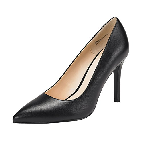JENN ARDOR Stiletto High Heel Shoes for Women: Pointed, Closed Toe Classic Slip On Dress Pumps -Black 9 B(M) US ()
