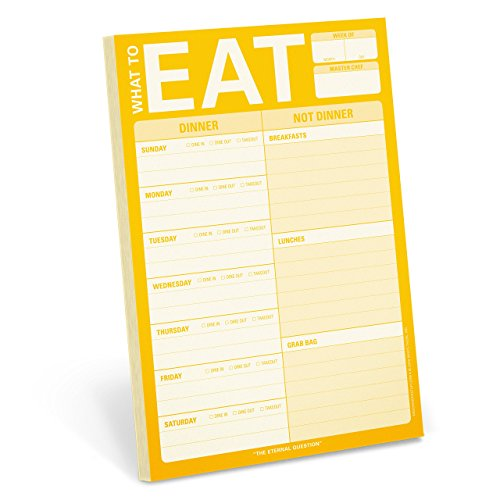 Knock Knock What To Eat Pad (Yellow), Meal Planning Note Pad, 6 x 9-inches