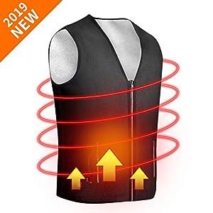 ISOPHO Gilet Chauffant Chauffés Veste V-Neck Gilet Chauffant électrique,Gilet en Polyester USB à Température Réglable pour Le Travail en Plein Air, Le Ski, la Randonnée, la Pêche, la Chasse