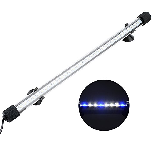 NICREW Submersible LED Aquarium Light, Hidden White with Blue LED Light Stick for Fish Tank, 13.8-inch, 8 W -