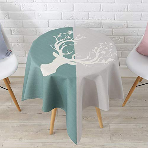 Cartoon table cover,Kitten Tablecloth Square For coffee table Parties Animal Tablecloth Deer Round Cat Tablecloth Solid color-C 110x110cm(43x43inch) (Coffee Table Deer Square)