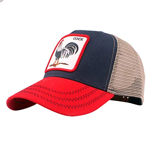URIBAKE Men Baseball Cap Fashion Cock Pattern Breathable Mesh Design Peaked  Hats Topee Red c0b0c1bb7f6f