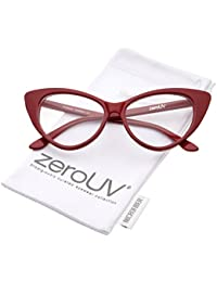 Retro High Sitting Temples Clear Lens Exaggerated Cat Eye...