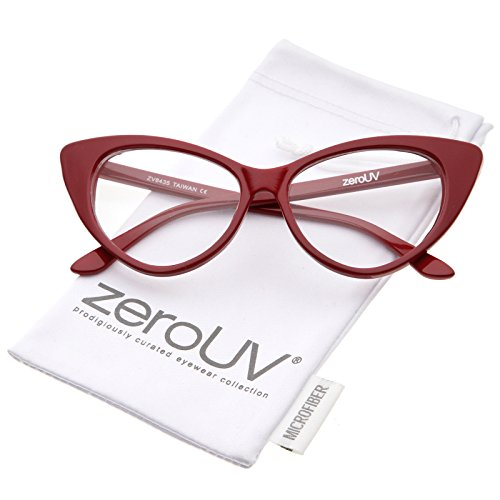 a58c187c48 Retro High Sitting Temples Clear Lens Exaggerated Cat Eye Glasses 55mm (Red  Clear)