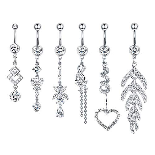 YADOCA 6 Pcs 14G Stainless Steel Belly Button Rings for Women Girls Dangle Navel Rings CZ Body Piercing Jewelry