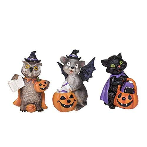 Trick or Treaters Raccoon Mouse Owl 3 Inch Resin Halloween Figurines Set of 3 -