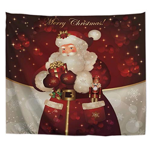 (A.Monamour Santa Claus Wearing A Red Robe Giving Kids Print Wall Hanging Tapestry Decorative Bed Sheets for)