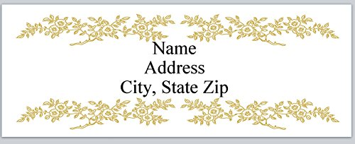 (120 Personalized Address labels Gold Flowers Border Wedding (P 364))