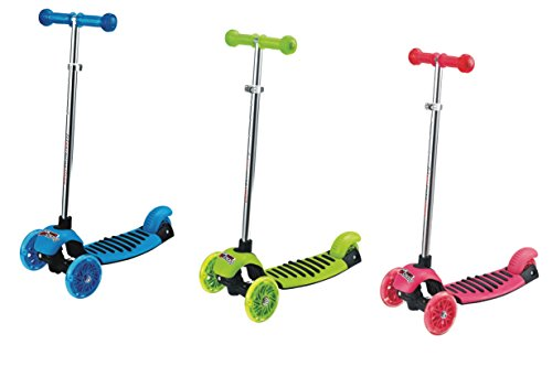 Best Buy! Voyage Kids Kick Scooter, Lean To Steer, Light Up Wheels (Green, Blue and Pink)