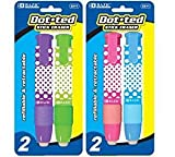 Bazic Products 2211-144 BAZIC Dot.ted Retractable Stick Erasers - 2-Pack Case of 144
