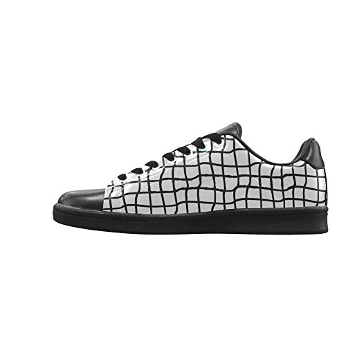 D-story Svartvit Rutnät Seamless Action Läder Mens Låga Top Sneakers