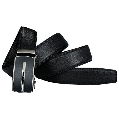 Mamck Sliding Buckle Ratchet Belt Genuine Cowhide Mens Leather Belt (black)