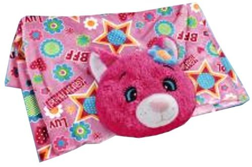 Pillow Pets Blankets - Flower Power Cat Plush Blanket (Flower Power Cat Pillow Pet)