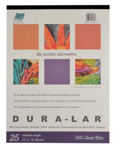 - Grafix Clear 0.003 Dura-Lar Film, 19-Inch by 24-Inch, 25 Sheets