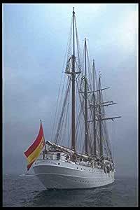 Metal Sign alto Sail barcos De barco 257071 Juan Sebastian De cuatro Elcano mástiles goleta De la bandera De España A4 12 x 8 aluminio: Amazon.es: Hogar