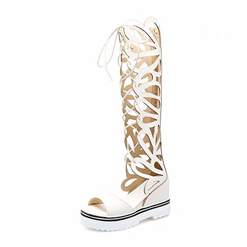 estudiante gran white altas Hueco del de del soles delantero de de mujer tambor cilindro botas botas pesado tamaño de alta frío encajes zapatos sandalias wfqwWxg1Hp