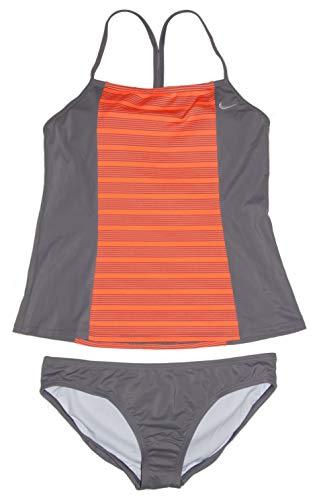 Nike Women's Tankini Athletic 2-Piece Swimsuit (Medium, Orange/Grey/White)