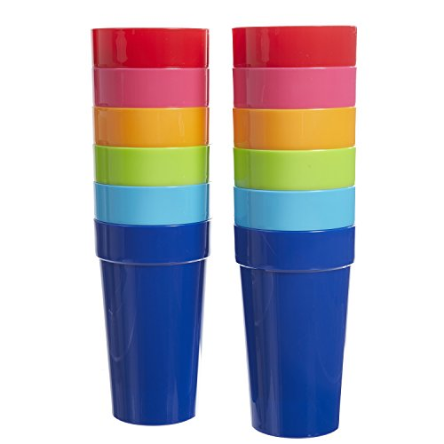 US Acrylic Spectrum 20-Ounce Plastic Tumblers | Set of 12 in 6 Assorted -
